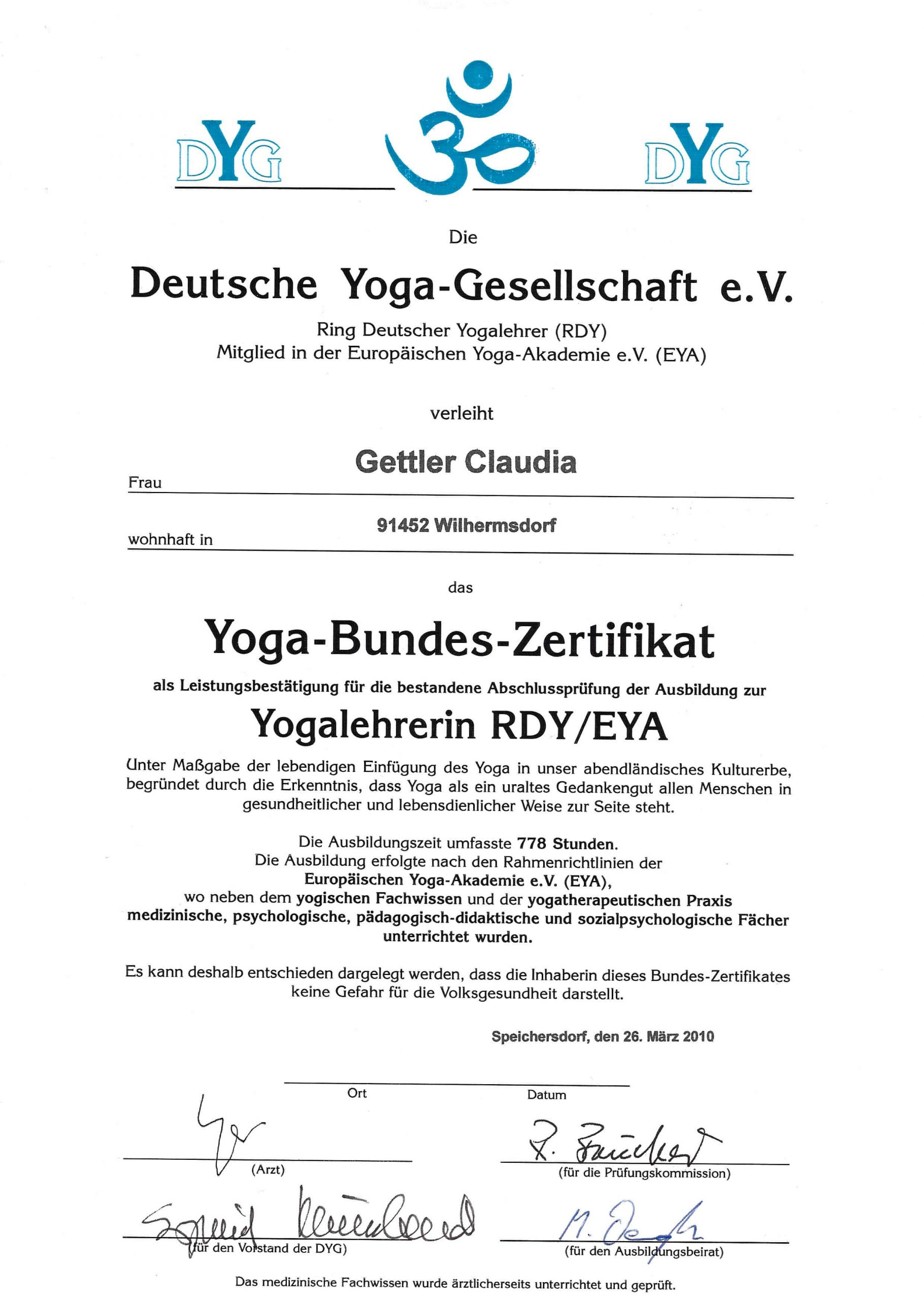 yoga bundes zertifikat: yogalehrerin rdy/eya